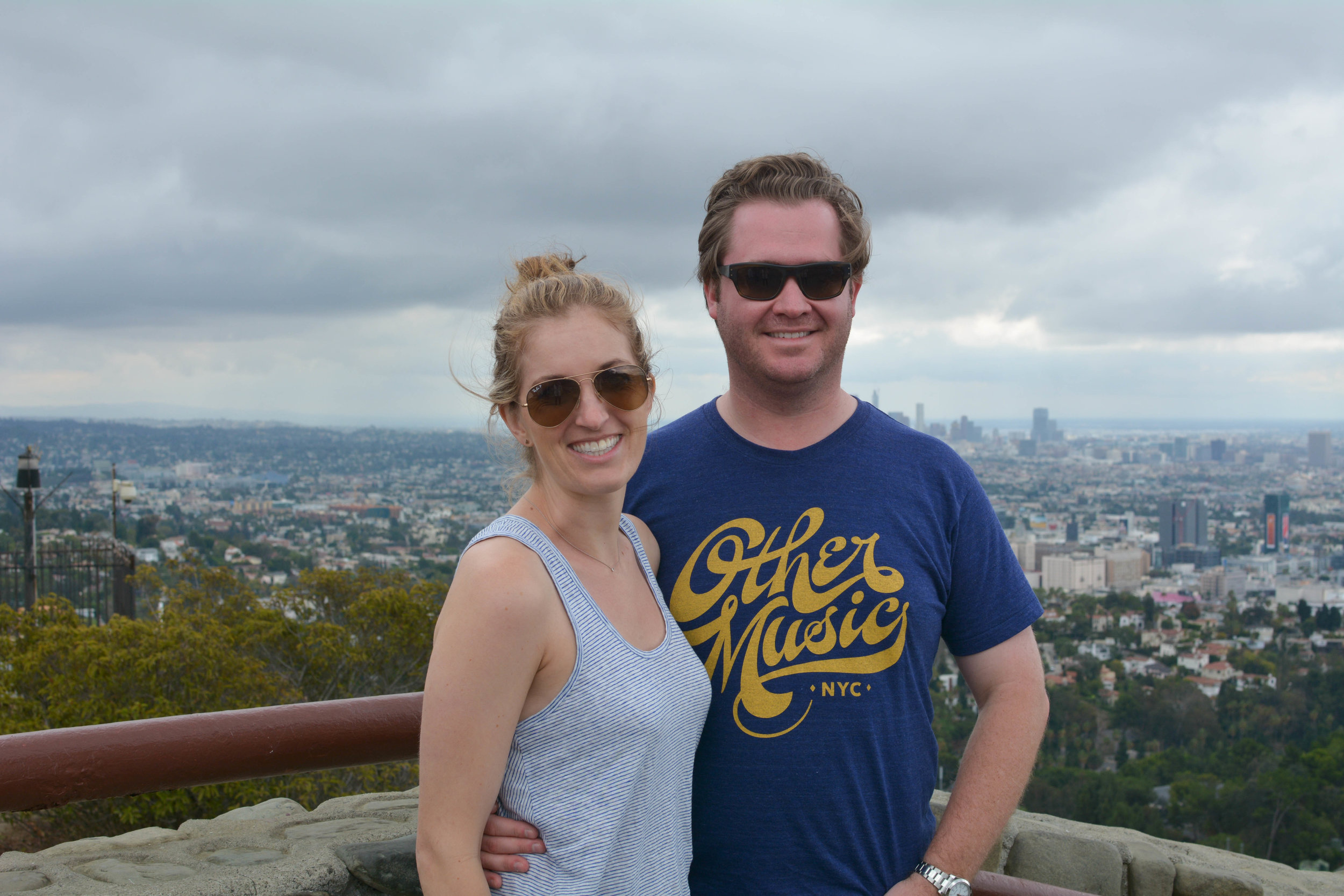 Stopping at a scenic overlook along Mulholland, and a rare blog appearance by my handsome husband.