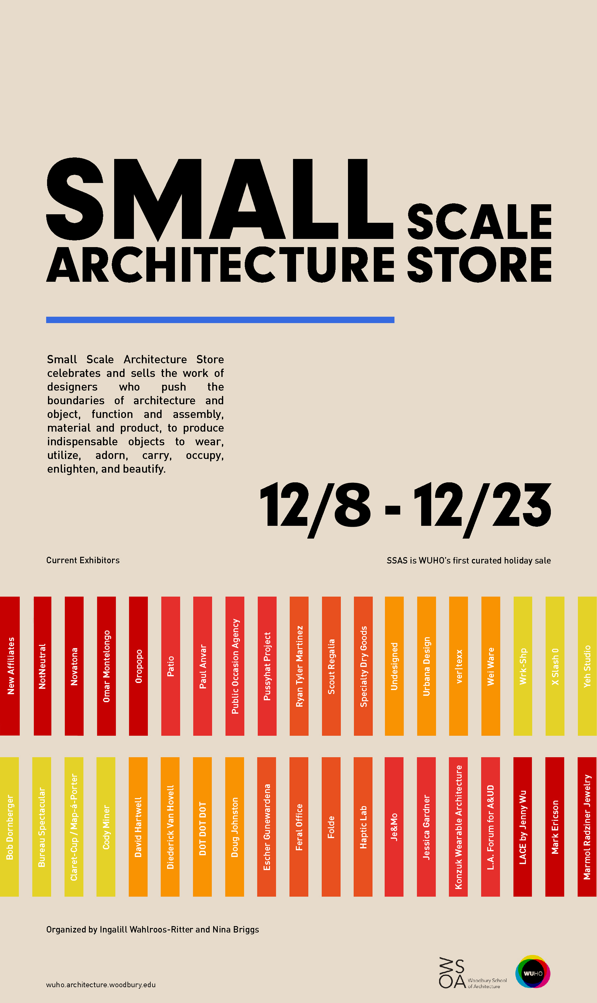 MAP-A-PORTER - At the SMALL SCALE ARCHITECTURE STORE!We are excited to announce our participation in WUHO Gallery's first annual holiday sale SSAS: Small Scale Architecture Store.We will be showing our soft goods line Map-á-Porter.SSAS celebrates and sells the work of designers who push the boundaries of function and assembly, material and product, to produce indispensable objects to wear, utilize, adorn, carry, occupy, enlighten, and beautify. Organized by Nina Briggs and Ingalill Wahlroos-Ritter, SSAS features the work of 40 designers who are exploring the boundaries of architecture and object. SSAS will run through December 23, 2018.when: December 8 - December 23, 2018hours: Thursday 1:00pm-8:00pm, Friday-Sunday 1:00pm-6:00pmwhere: WUHO Gallery. 6518 Hollywood Blvd. Los Angeles. 90028Opening Reception: Saturday, December 8, 2018 at 6:00pm