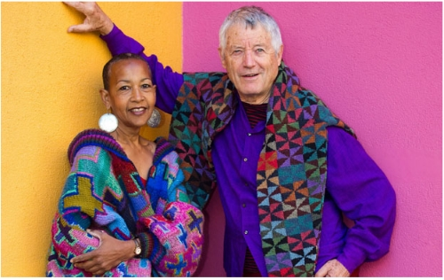Stunning knitwear patterns and colours from Kaffe Fassett. Image via Fashion & Textiles Museum London