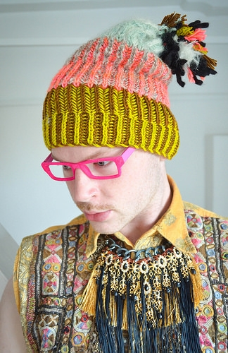 Stephen West Brioche knit beanie. Synocopation Association.