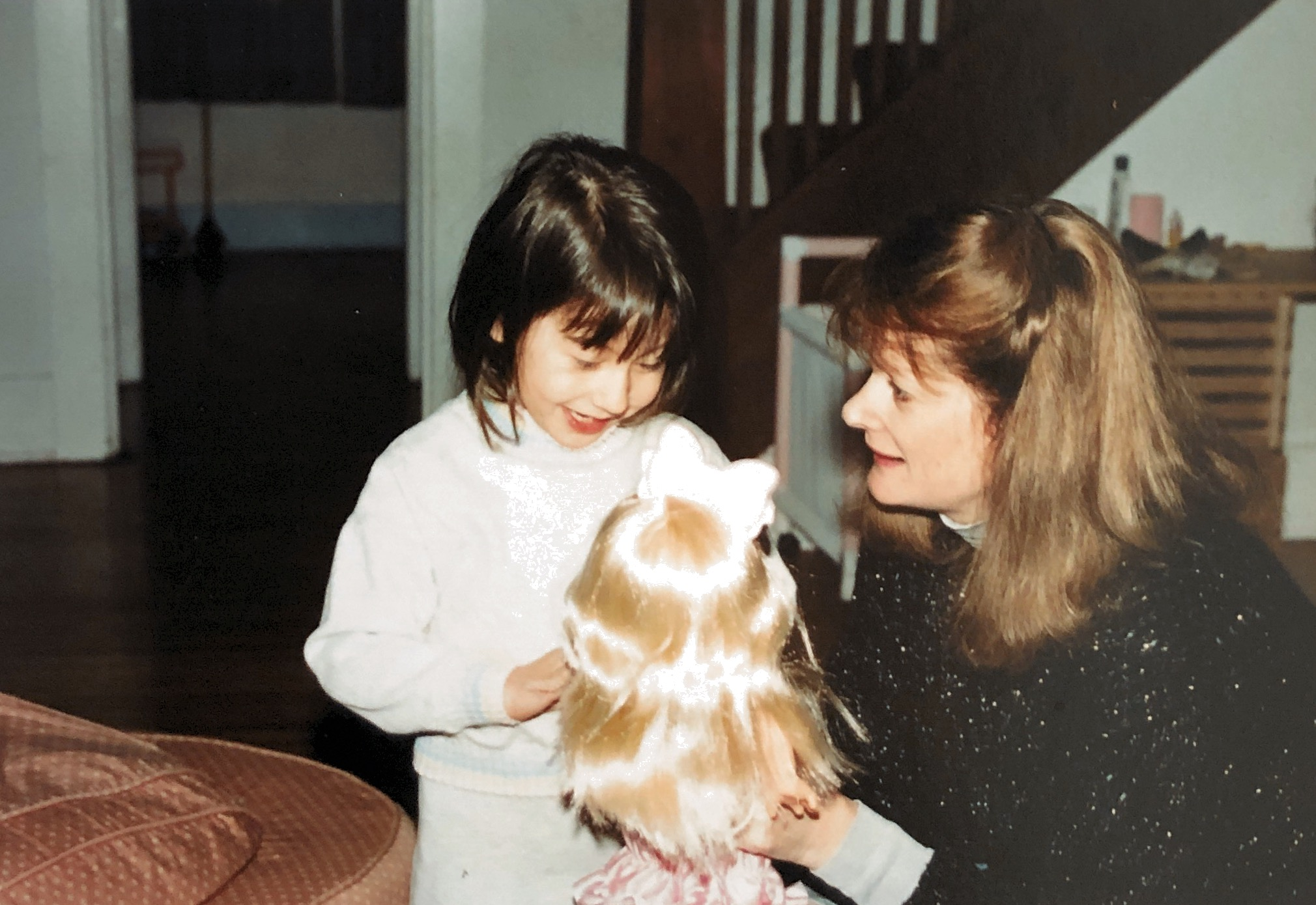 With my Nonnie proudly showing off my Sparkly Princess Doll - Christmas 1989.