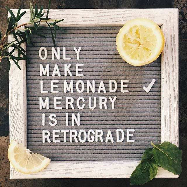 Omg for real dudes! 🍋  Did myself a favor when all the technical glitches I could ever imagine started happening. I squeezed myself some fresh lemons and made lemonade while Mercury in Retrograde sorted its' shiz out! Beware friends! All things tech will be wacky til 7/31 (or until I figure the tech out and stop blaming the universe!) 🤣😤raise your glass if you can relate! 🙌🏻🍹#mercuryinretrograde #makelemonade #myframeoflife.