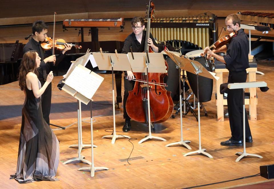 Erin Gee, Harry Chang, Charles Paul and Joseph Burke at the  Tanglewood Music Center , Mouthpiece 29. Photo by Hillary Scott. Boston Globe   Review