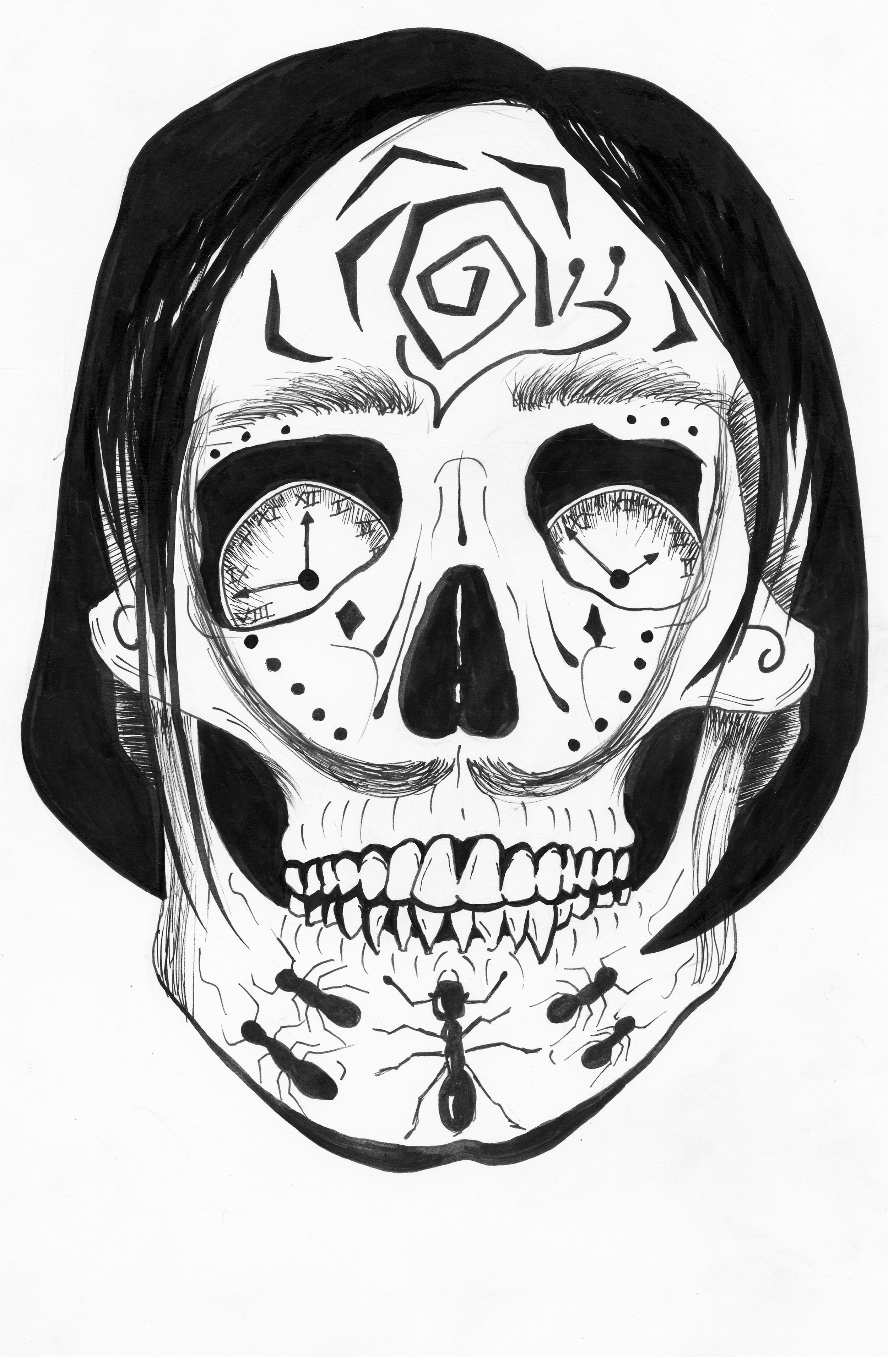 This Salvador Dali Sugar Skull Design is available for purchase on a white v-neck for $15.