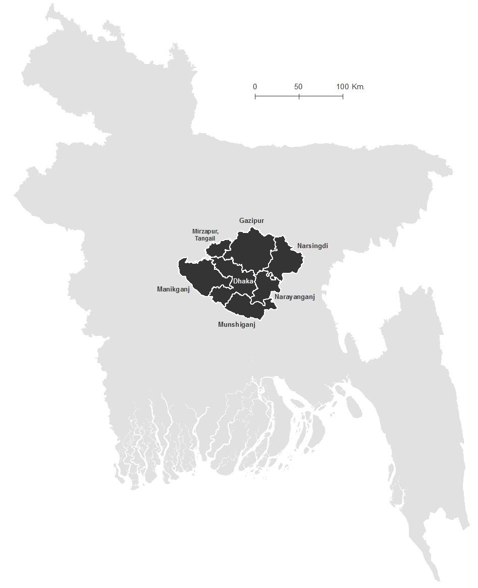 Figure 2: Study Area- Greater Dhaka Region