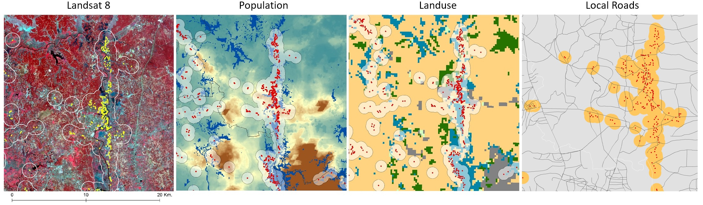 Figure 4: Zoomed-in illustration of select brickfields with 1 km. buffer overlaid on top of satellite image FCC,population grid and landuse grid; and with 0.5 km. buffer on top of local roads (respectively from left to right).