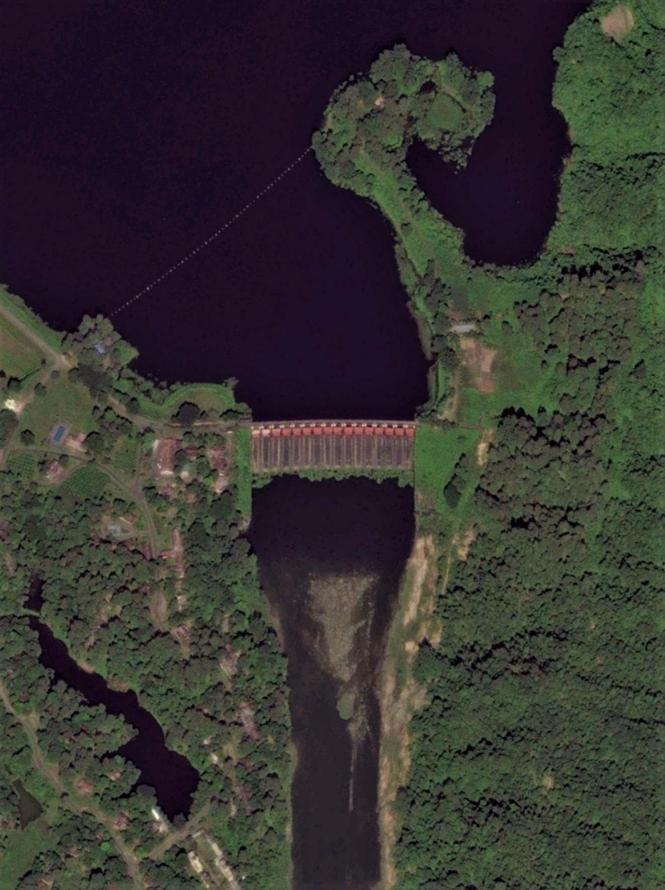 Kaptai hydropower dam in November 2014. Image width: 850 meter