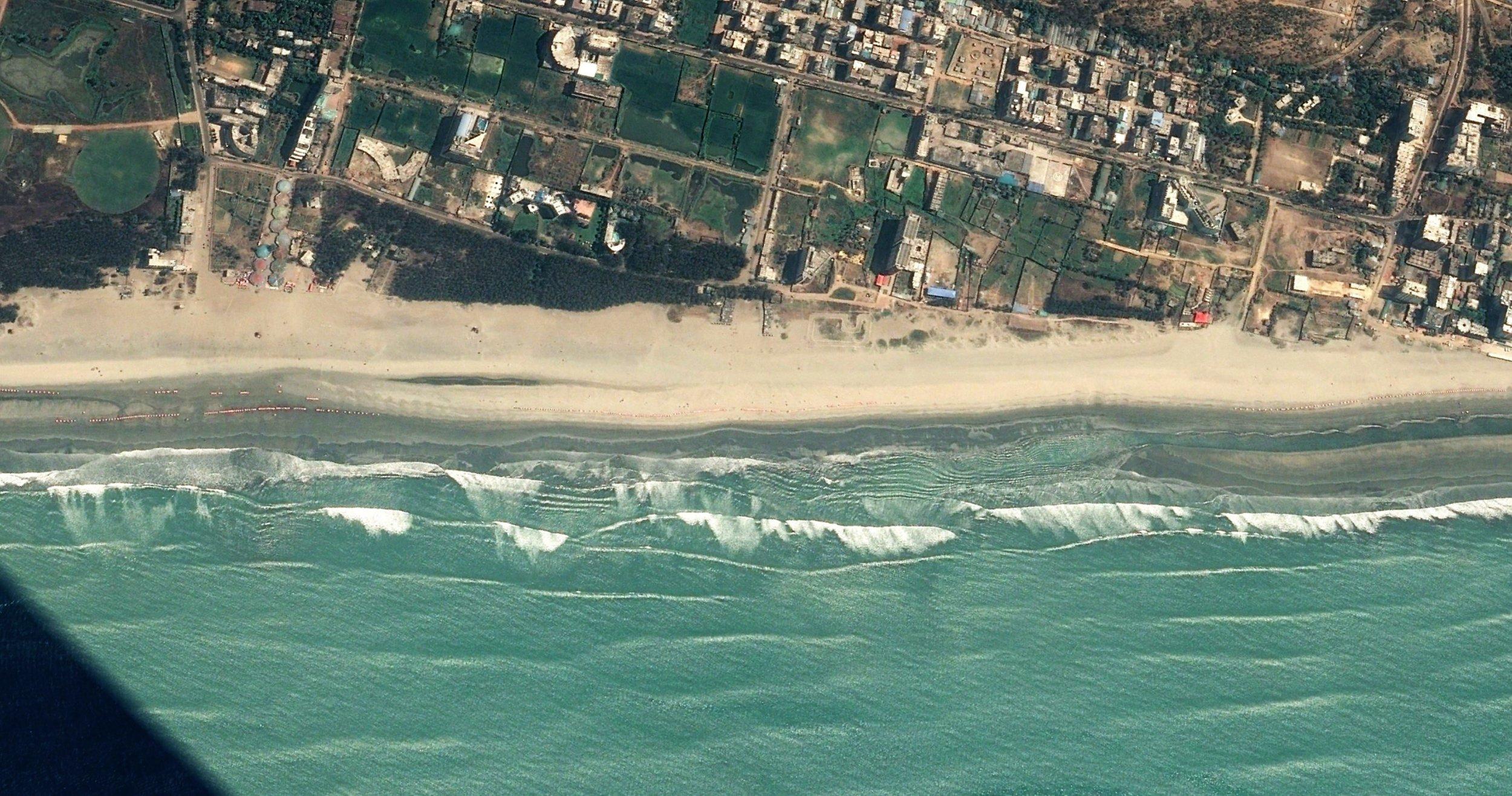 Cox's Bazar beach (beach length: 2 km.)