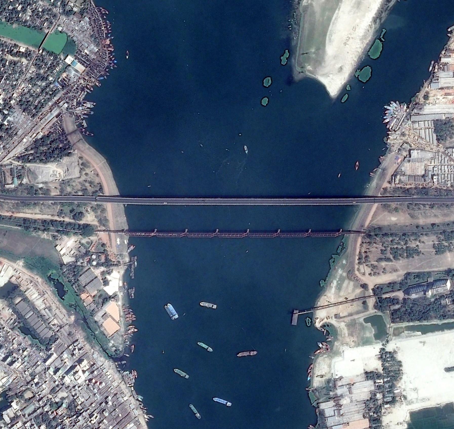 Bridges over Meghna river. Image width: 1.5 kilometer
