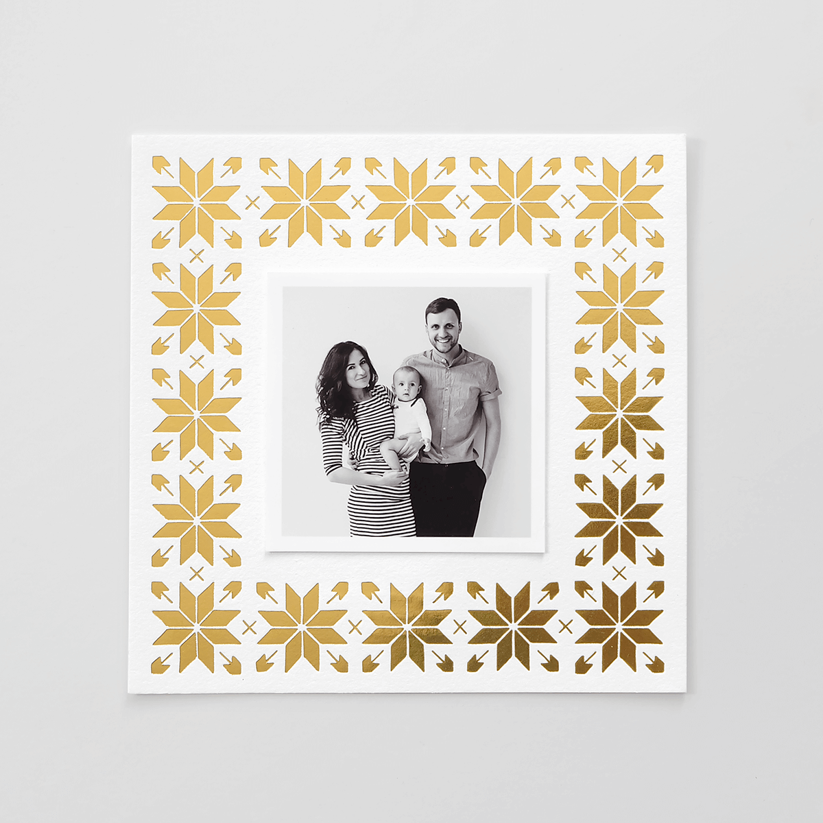 Snowflake Gold Foil Photo Holiday Card