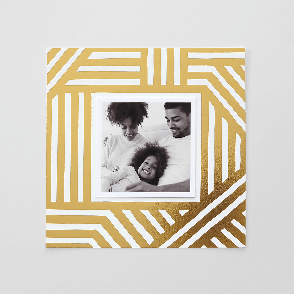 Bold Stripes Gold Foil Photo Holiday Card