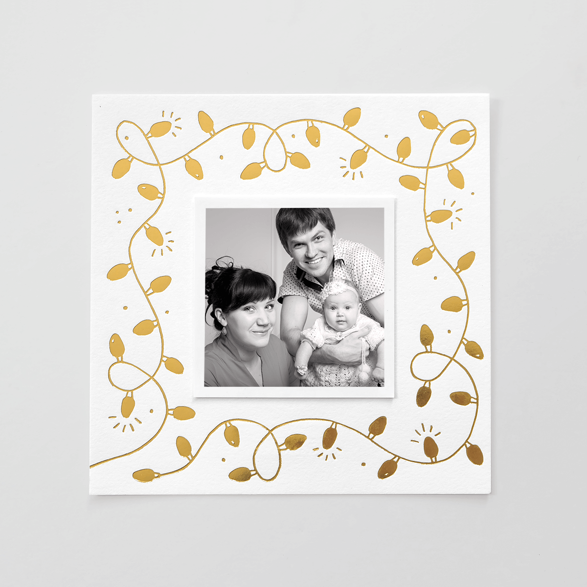 String Lights Gold Foil Photo Holiday Card