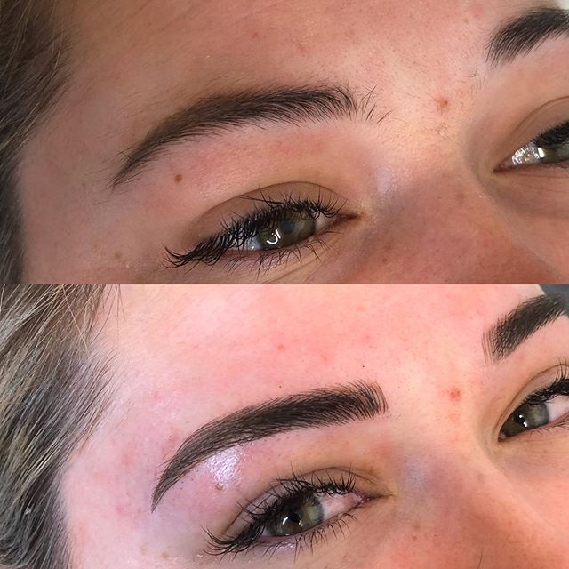 We got to touch up Darcie's brows today & make them a little fuller! Loving the result 😍🙌🏼 *before not our work