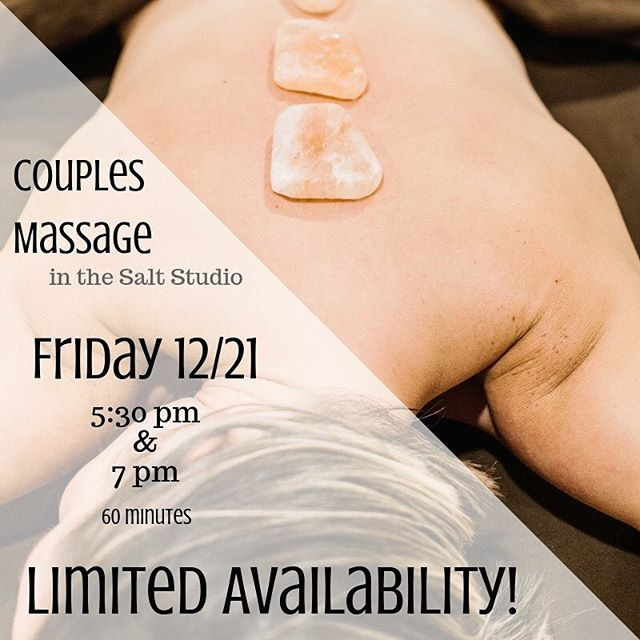 Need a little something before the holidays? @jael_therapy will be joining me for a limited offering of couples massages in the Salt Therapy room at @restoreskintherapy on 12/21.  Want in? DM me or give us a call at 317-735-1161 to reserve your space. . . . #couplesmassage #giftingwellness #recharge #halotherapy #saltcave #drysalttherapy #massagetherapy