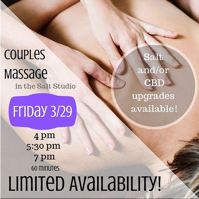 So couples massages on 3/22 SOLD OUT IN RECORD TIME! We've added three more time slots on 3/29, but that's all folks. If you want in, send me a message ASAP!