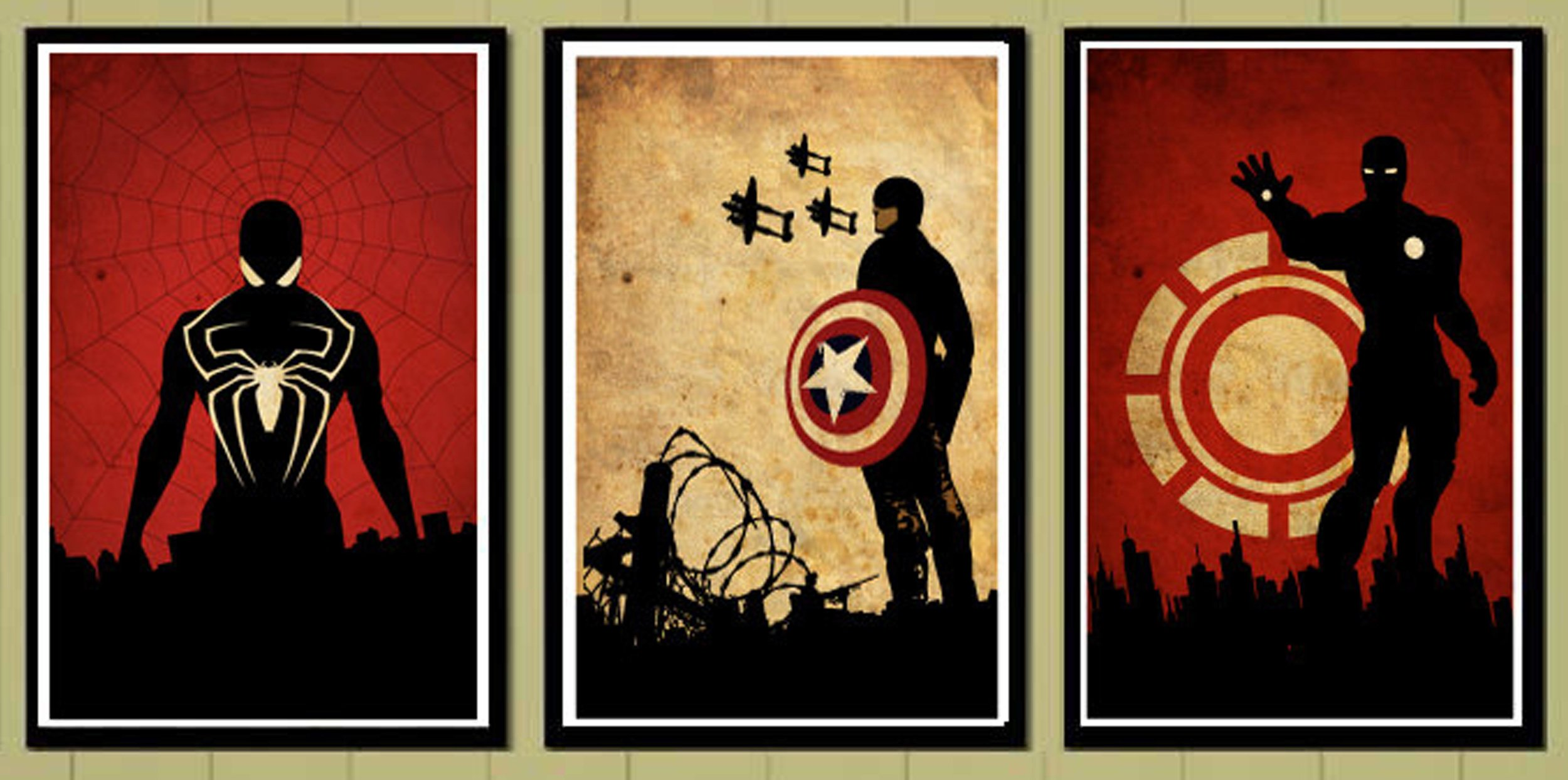 Image series via  Wallpaper.zone community  celebrating Marvel Superheroes, from left, Spiderman, Captain America and Iron Man.