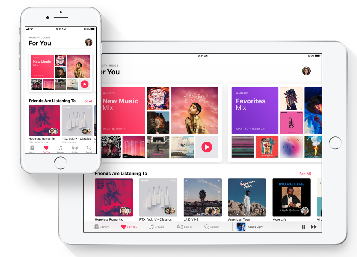 New  Apple Music via iOS 11