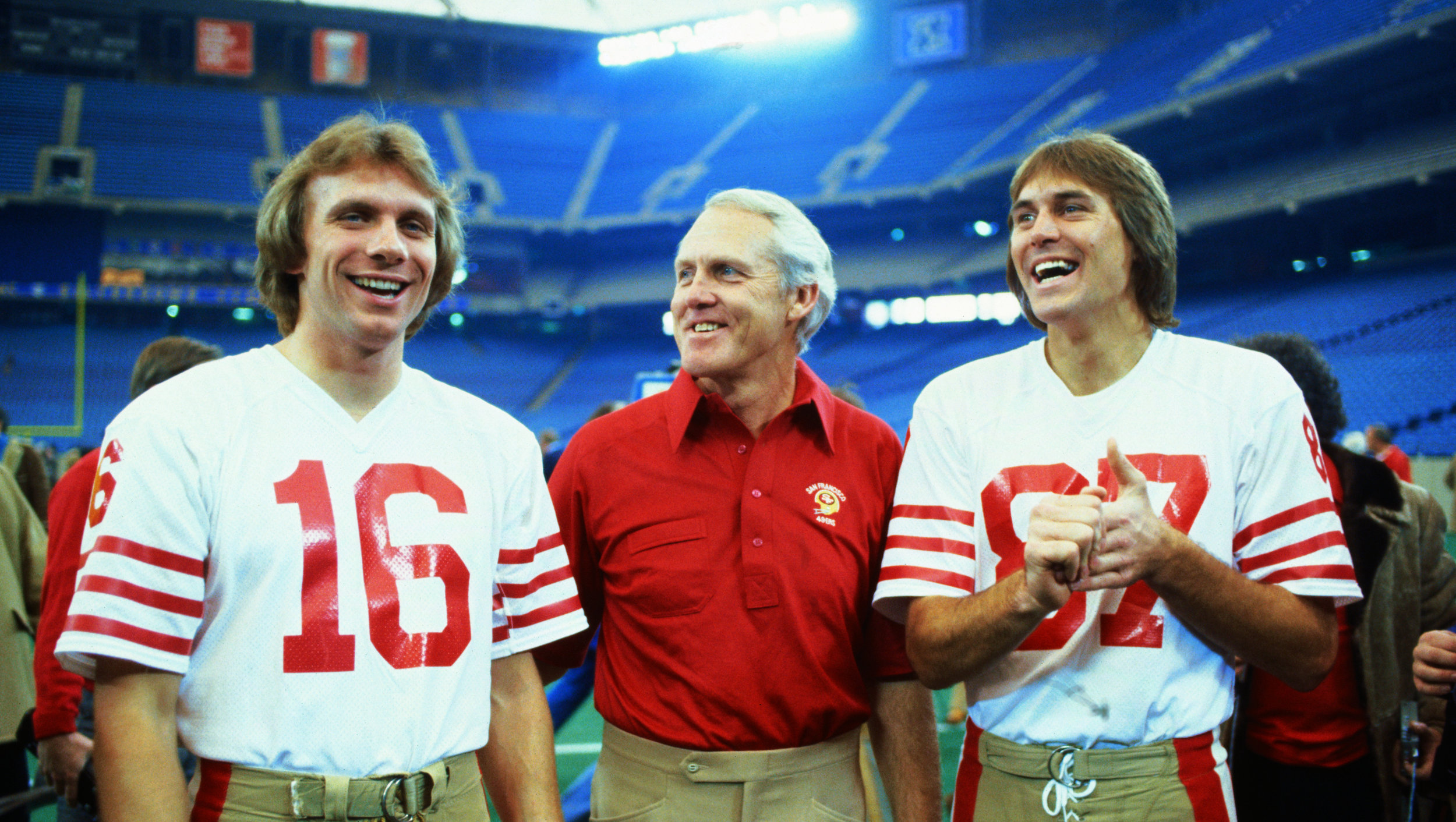 Joe Montana (left), Bill Walsh (center) and Dwight Clark (right) at the 1982 Super Bowl