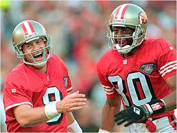 Steve Young and Jerry Rice of the 49ers
