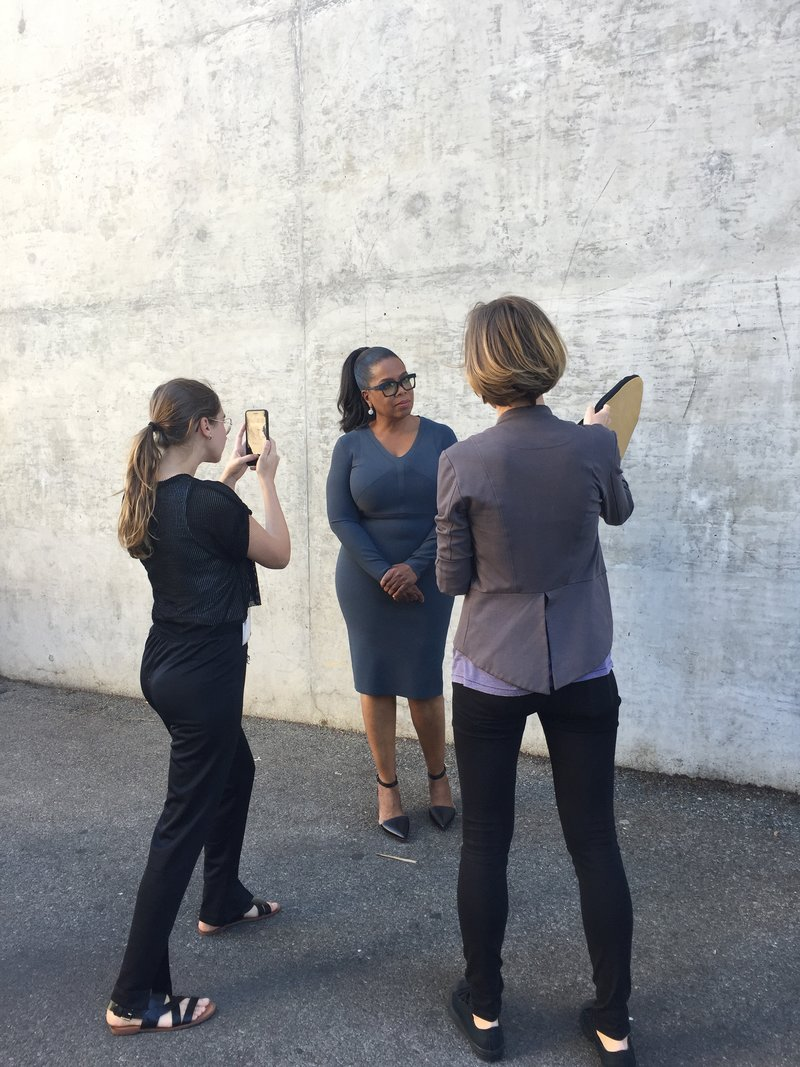 Luisa Dörr, left, shoots Oprah Winfrey on her iPhone in Los Angeles, Oct. 2016. Image via  TIME .