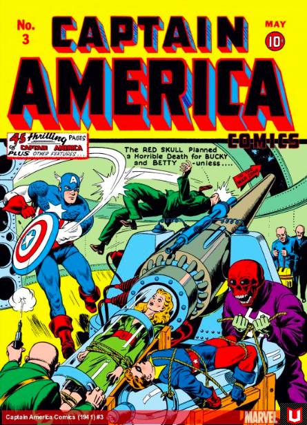 1941 Lee's first writing for Captain America issue written by Joe Simon and Jack Kirby; Image via  Marvel
