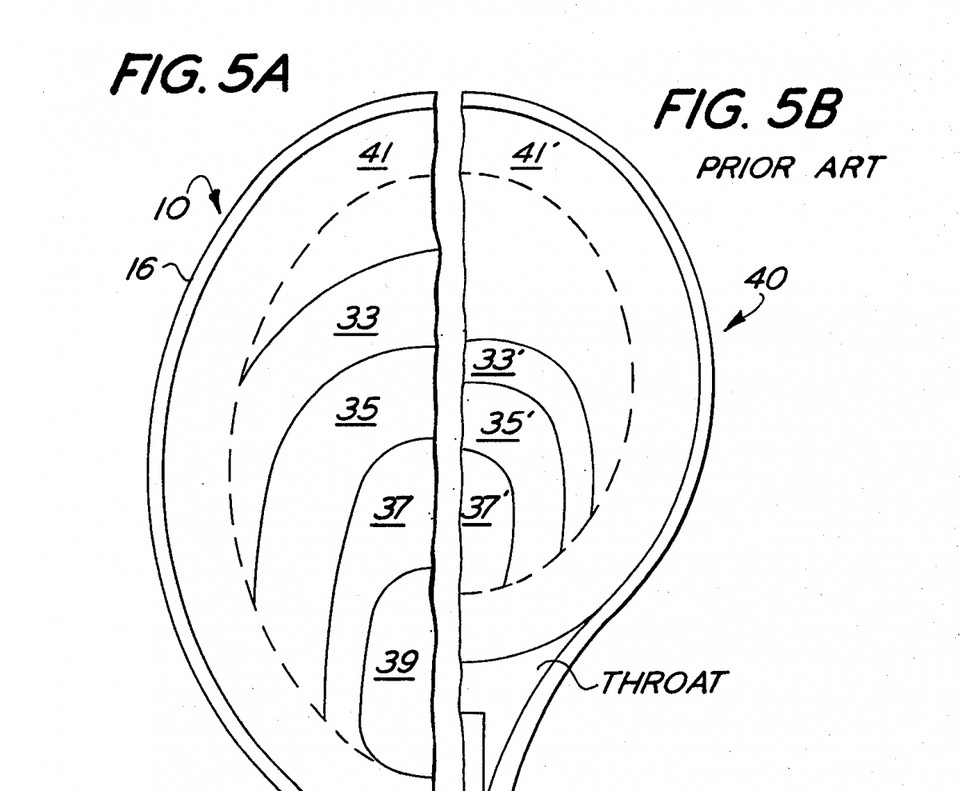 "Patent diagrams comparing the ""sweet spots"" in Head's tennis racket [5A] and a traditional racket [5B]. The ""sweet spot"" in Head's racket is labelled zones 33, 35, 37 which are significantly larger in area than the corresponding zones 33', 35', and 37' in the traditional racket. Howard Head, ""Tennis Racket,"" US Patent 3,999,756 (filed 10 Sept. 1975, granted 28 Dec. 1976)."