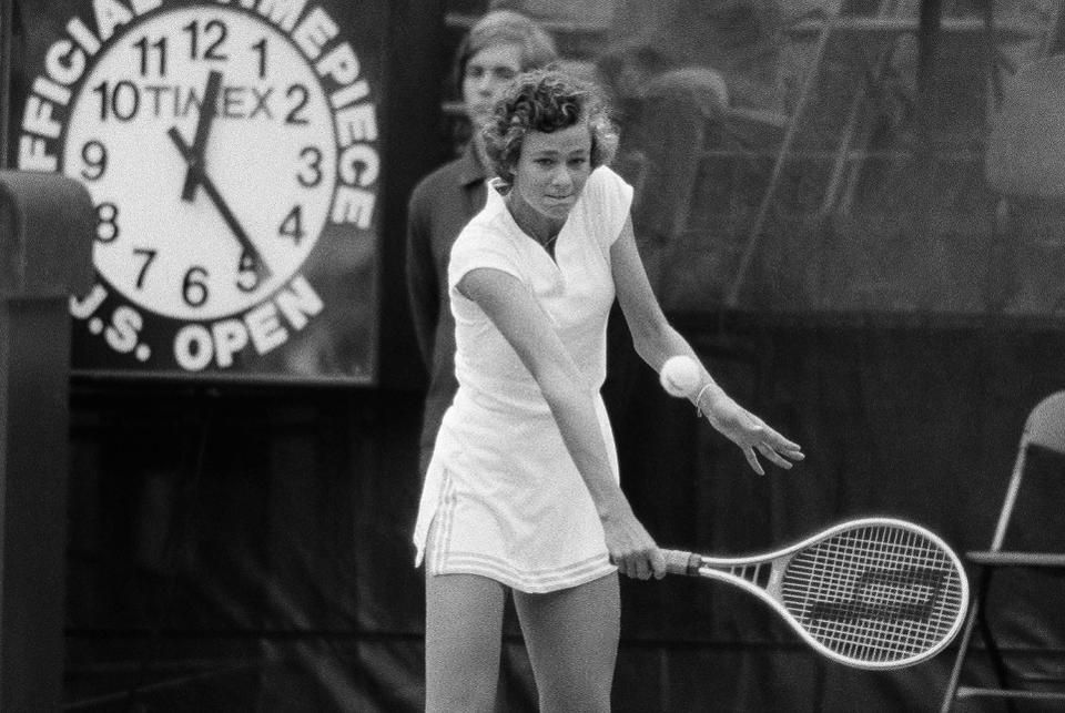 Pam Shriver playing with a Prince racket during a semi-final match against Martina Navratilova at the U.S Open Tennis Championship, September, 1978. The sixteen-year-old Shriver upset the number-one seeded Navratilova to become the youngest finalist ever in the U.S Open Tennis Championship. (AP Photo/Dave Pickoff)