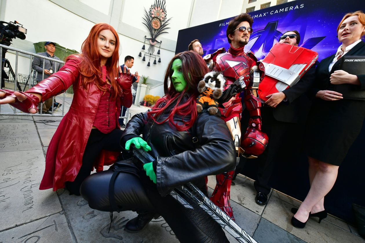Fans arrive for a costume contest before the first screening of 'Avengers: Endgame' at the TCL Chinese Theatre in Hollywood. Photo by Frederic J. Brown, Agence France-Press/Getty Images