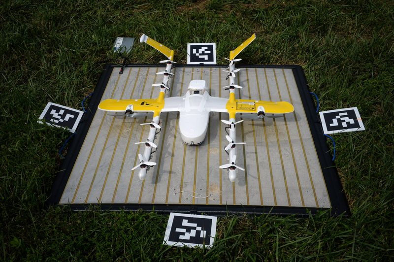 A Wing delivery drone sits on a charging pad in Blacksburg, Virginia. Photo credit: AP