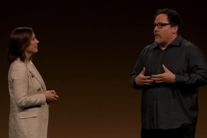 Kathleen Kennedy and Jon Favreau at Disney+ investor presentation. Image via  Disney