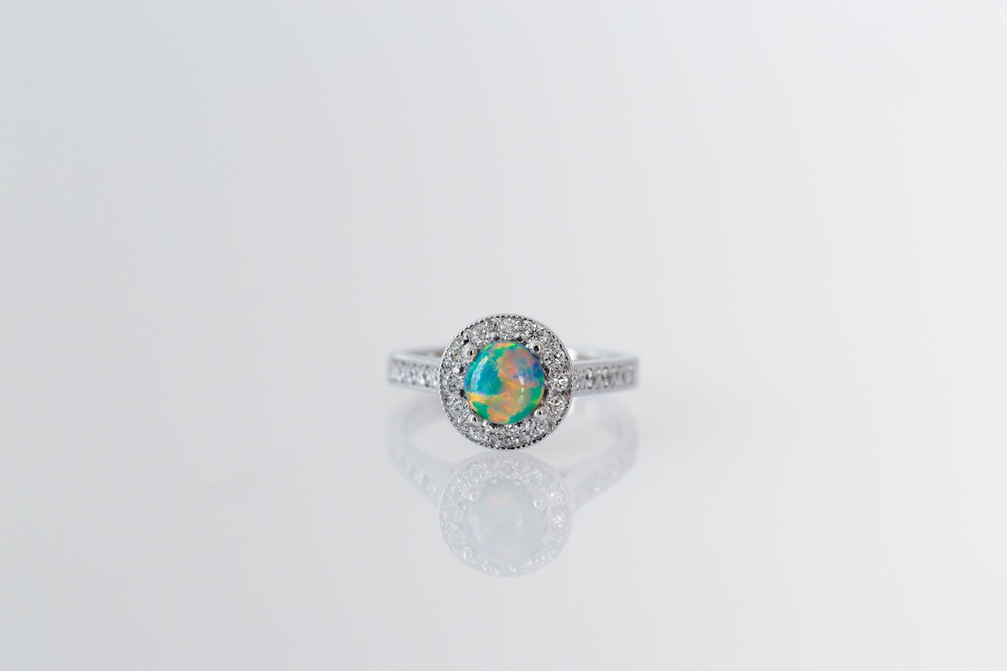 Black opal and diamond dress ring - Harlequin Jewellers