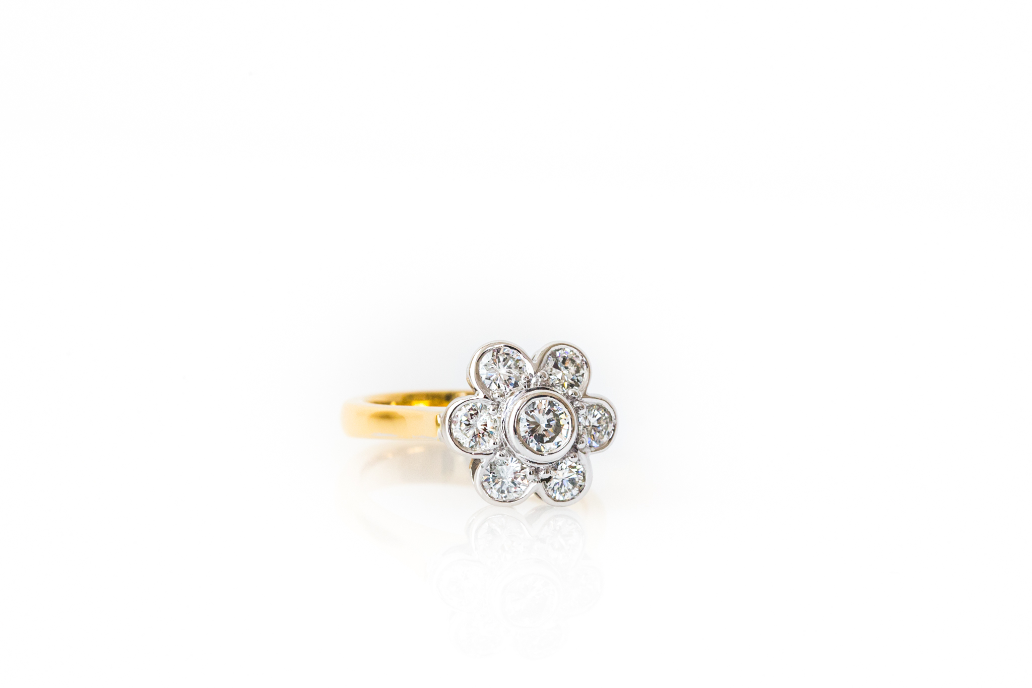 Yellow gold cluster dress ring, featuring a white gold setting which showcases the diamonds - Harlequin Jewellers