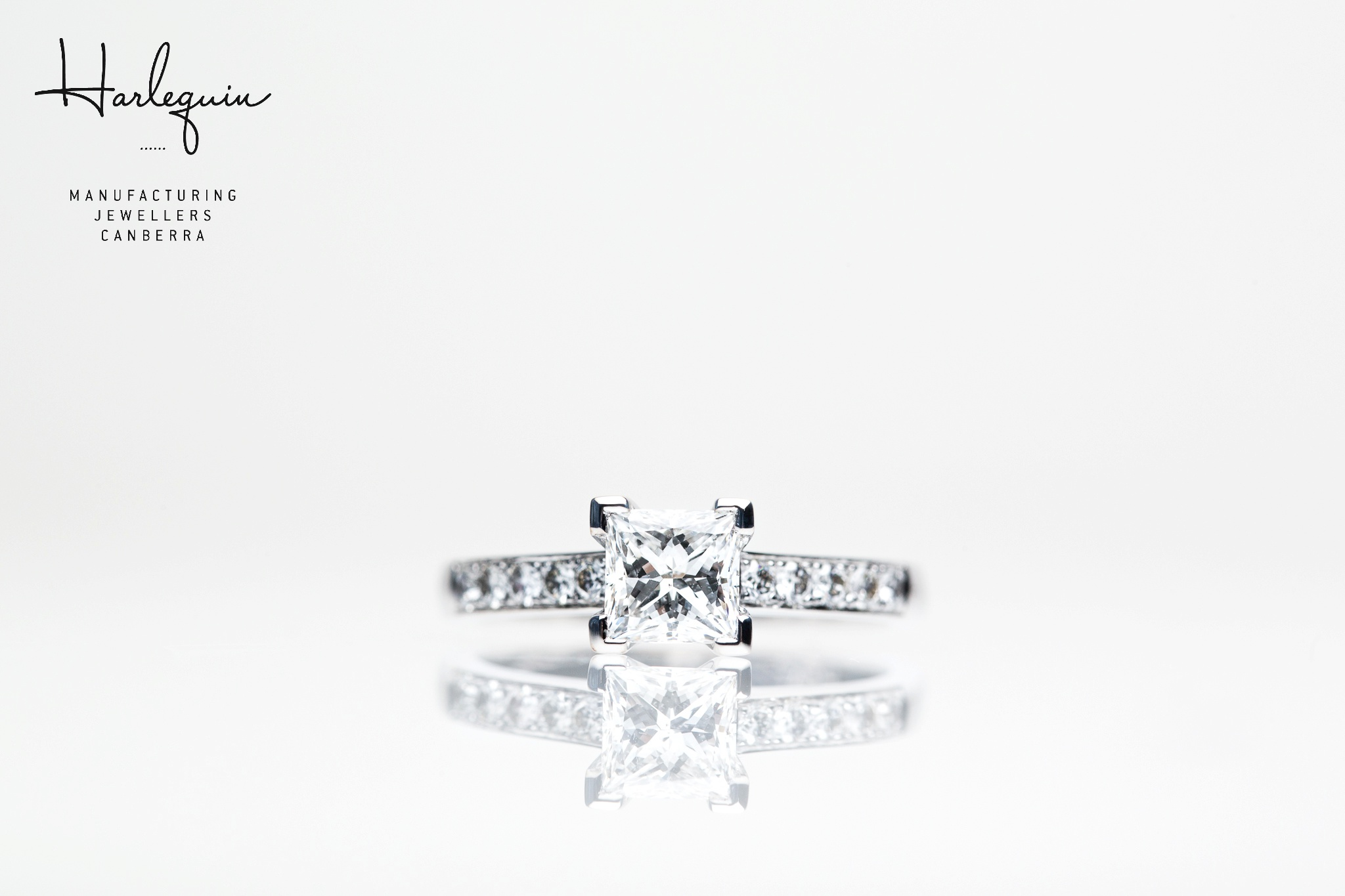 Style 2: Channel set princess cut diamonds in the band