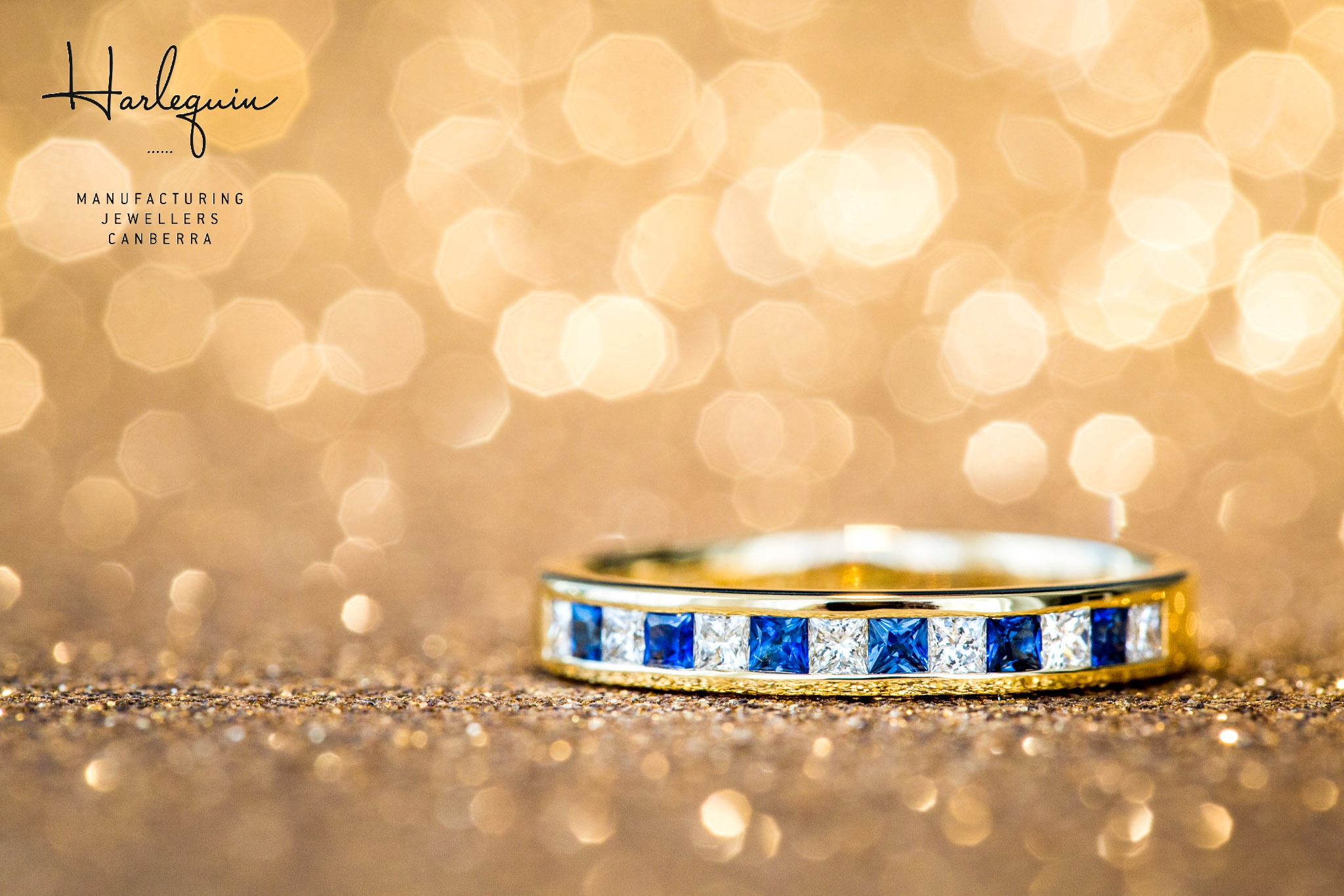 Blue sapphire and diamond eternity ring - Harlequin Jewellers Canberra
