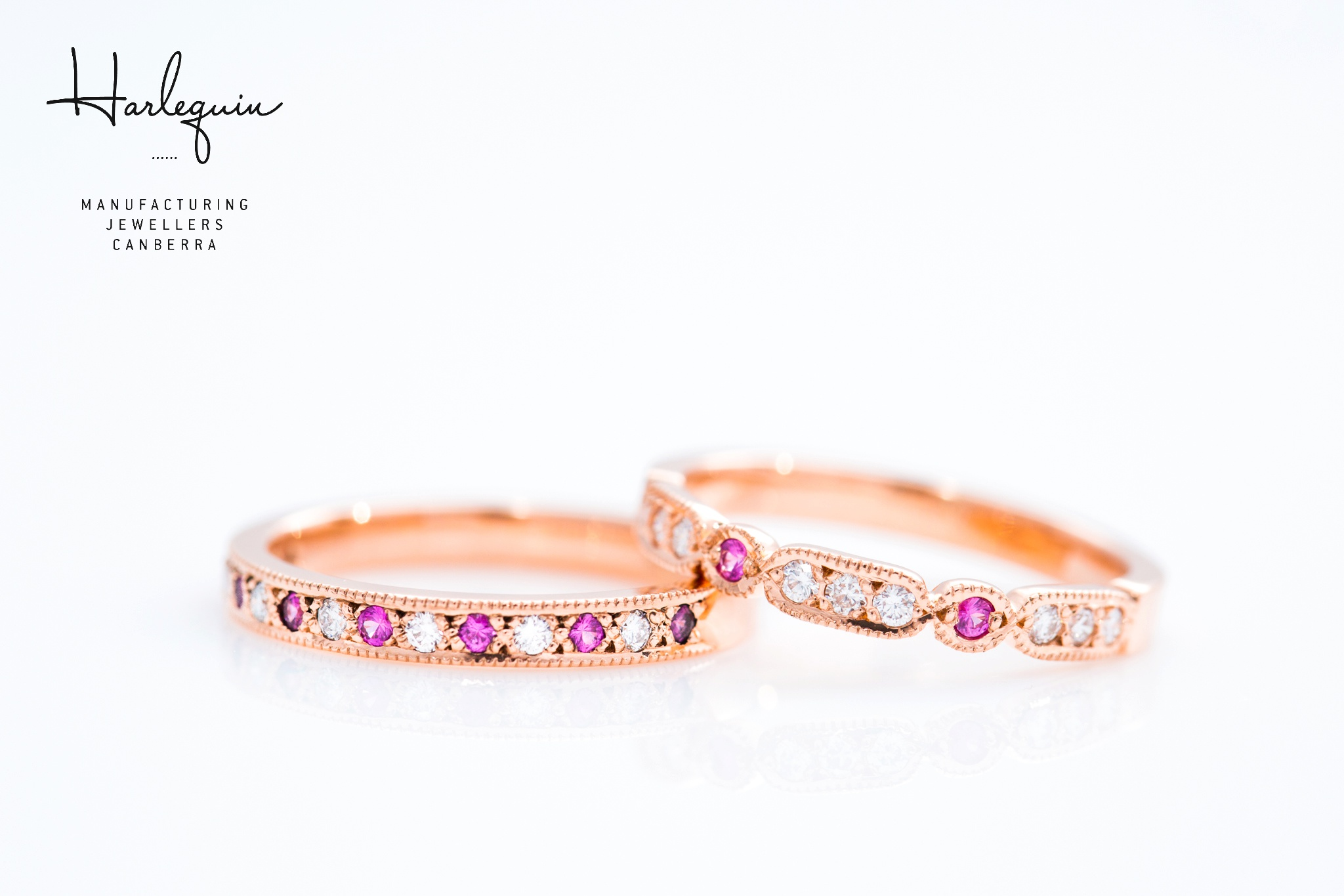 Pink sapphire and diamond wedding and eternity rings with custom shaping - Harlequin Jewellers Canberra