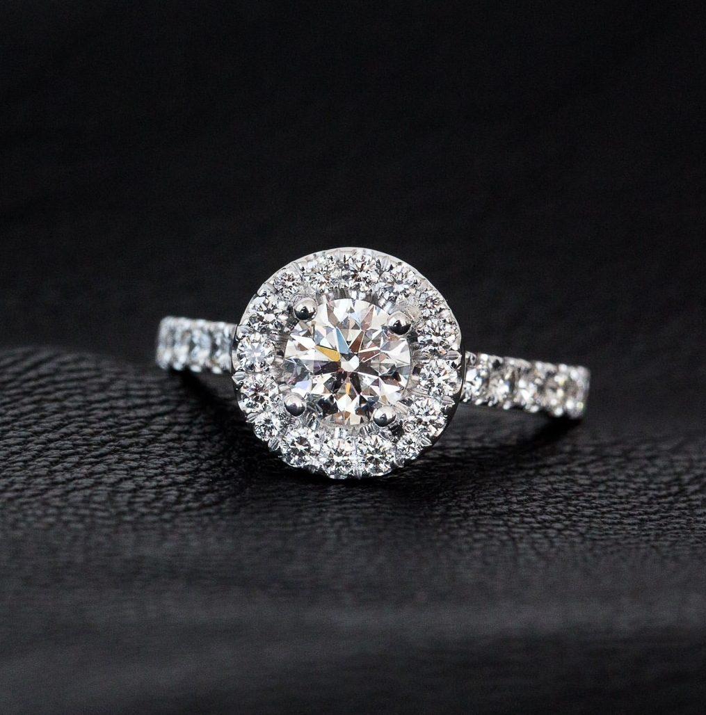 Round brilliant cut diamond engagement ring with round halo Harlequin Jewellers Canberra