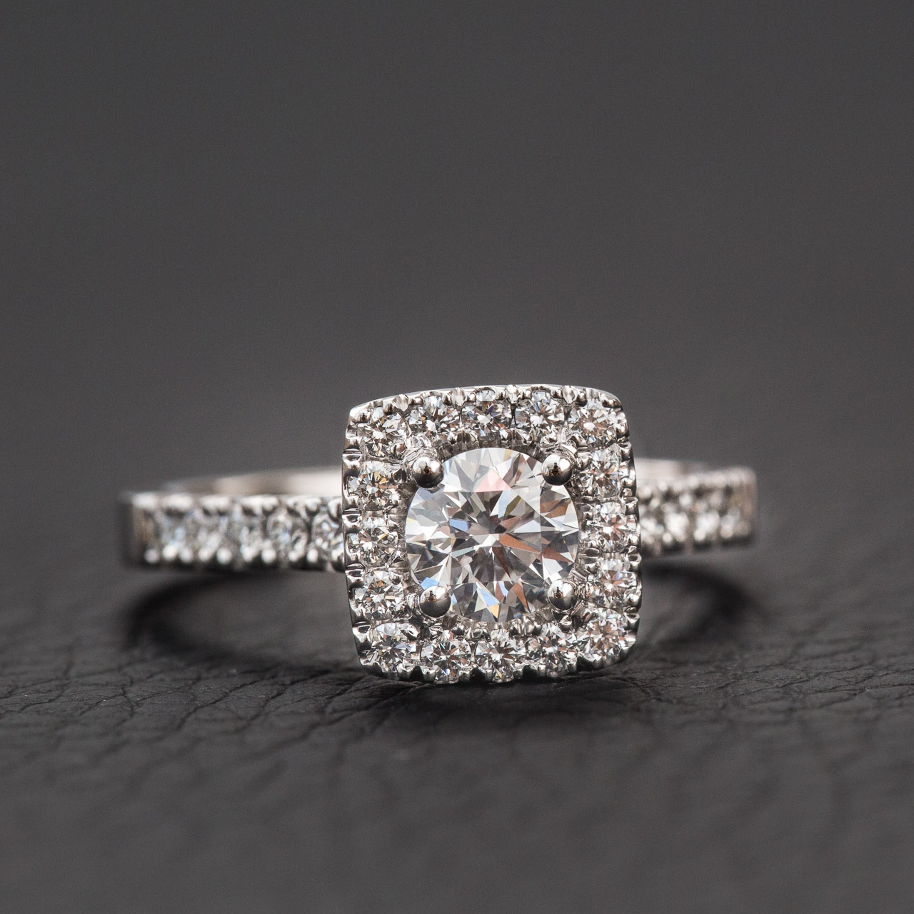 Round brilliant cut diamond engagement ring with square halo Harlequin Jewellers Canberra