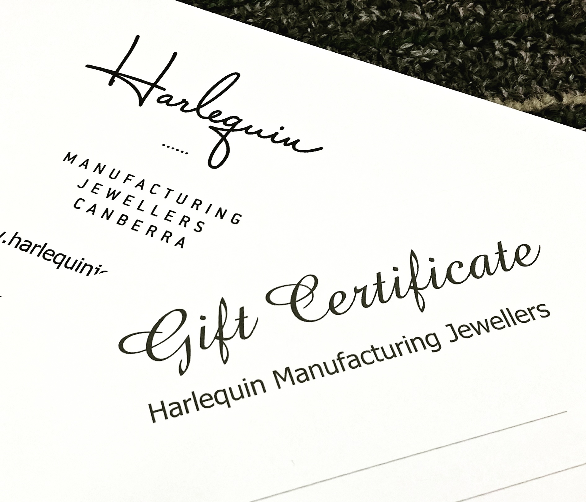Gift certificate Harlequin Jewellers Canberra