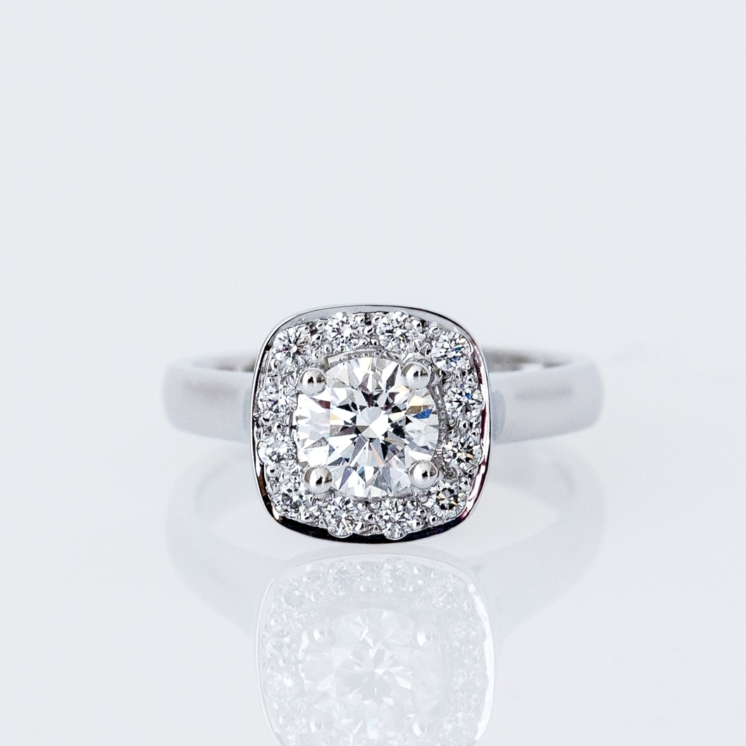 Round brilliant cut diamond engagement ring with cushion halo Harlequin Jewellers Canberra