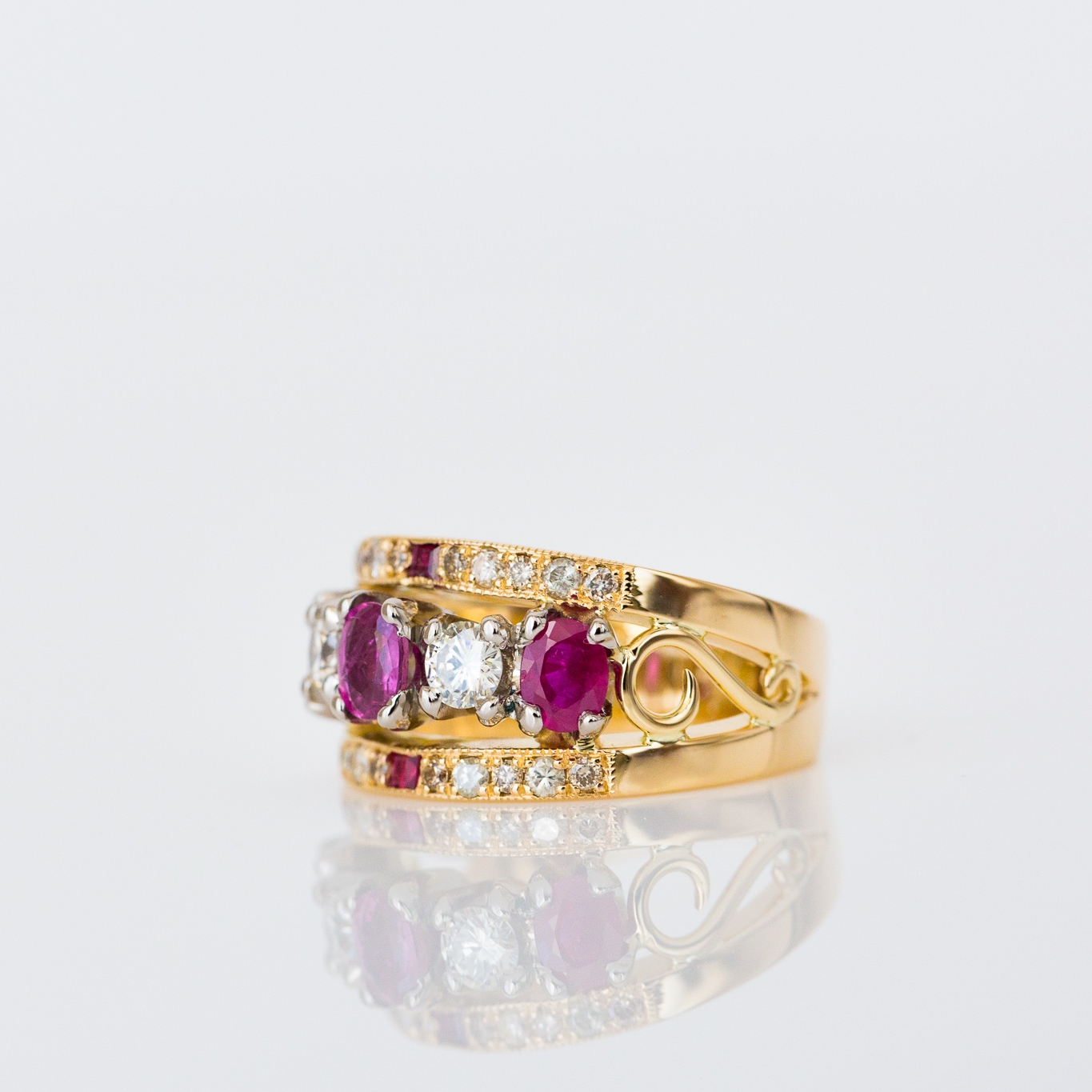 Ann's remodelled diamond and ruby ring - Harlequin Jewellers Canberra