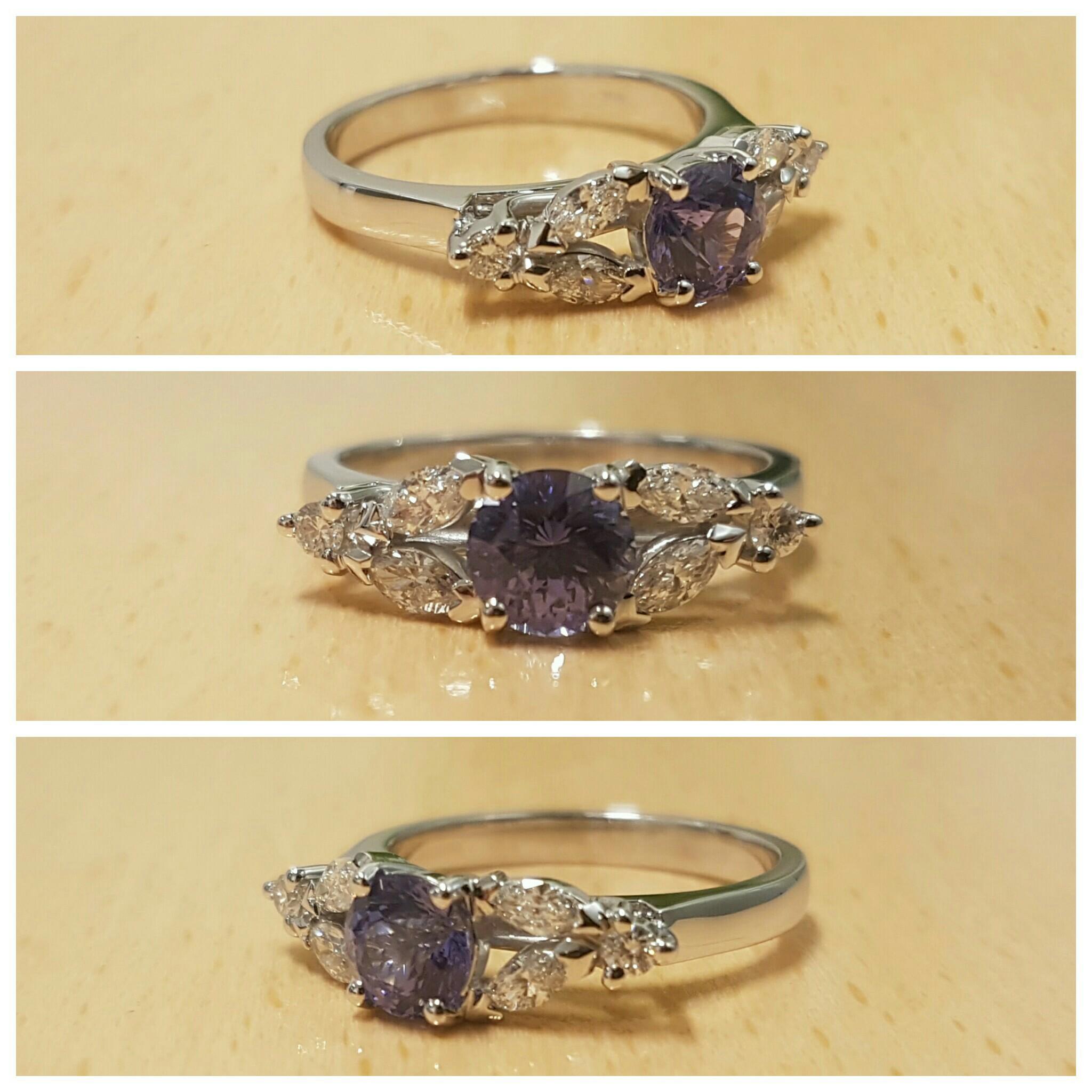 Sapphire and marquise diamond engagement ring Harlequin Jewellers Matthew Hengge