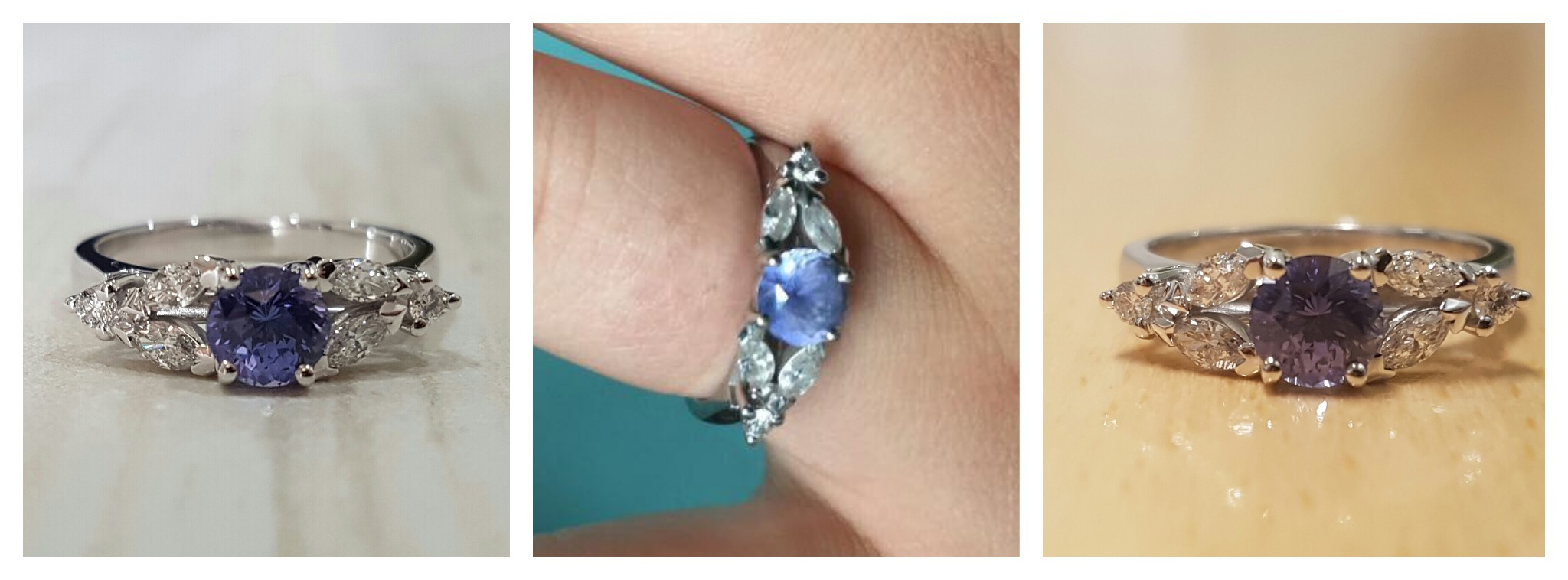 Some of the many colours Katherine's sapphire displays.