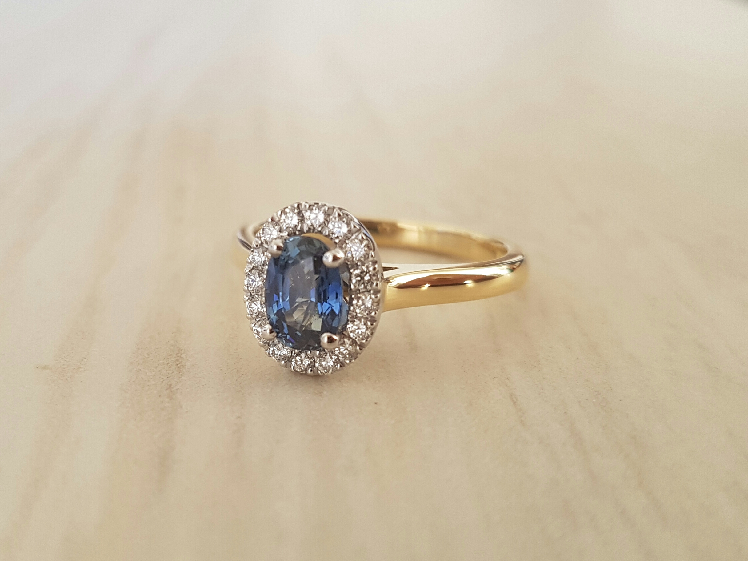 Amne and Osman's blue sapphire and diamond engagement ring.