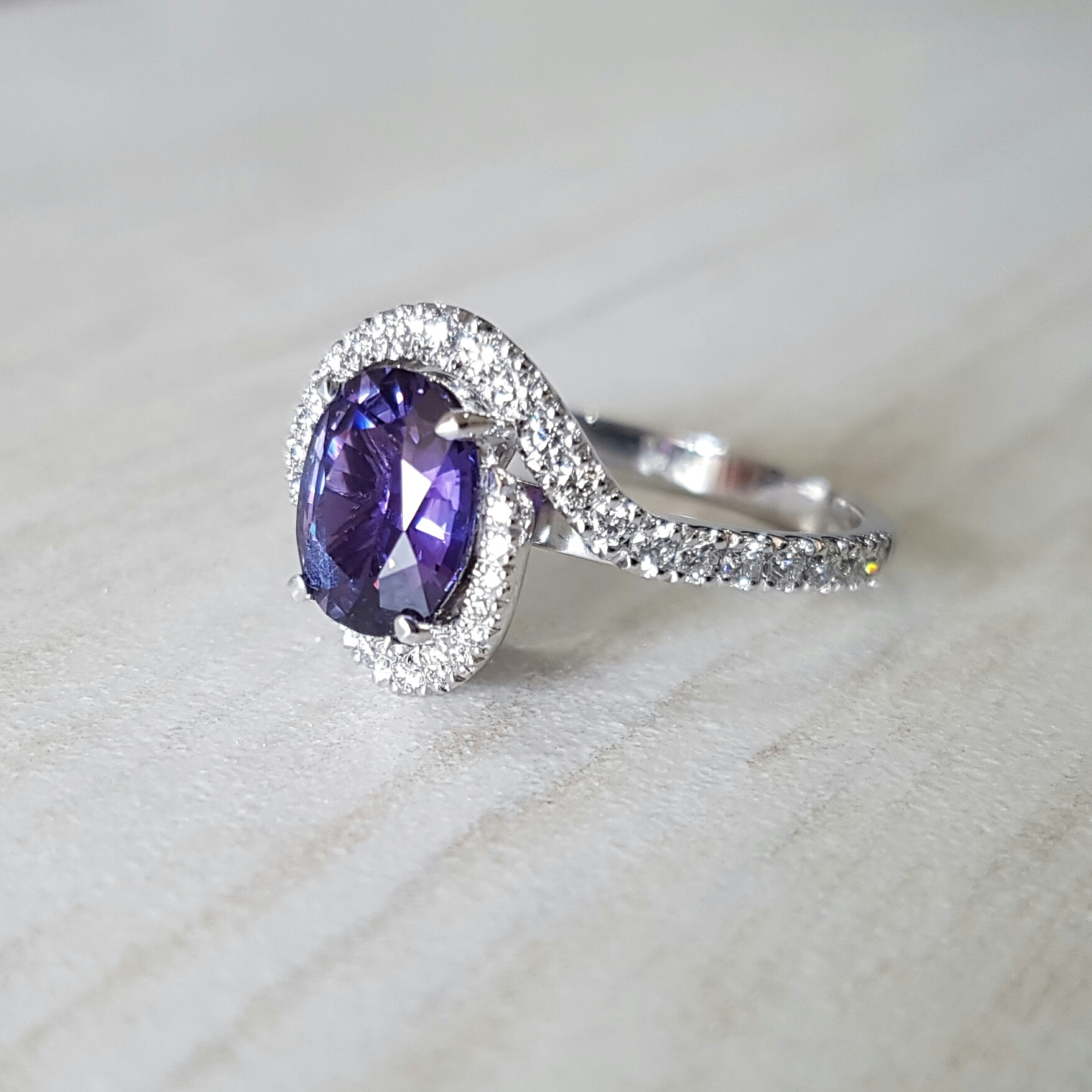Purple sapphire engagement ring Harlequin Jewellers Canberra