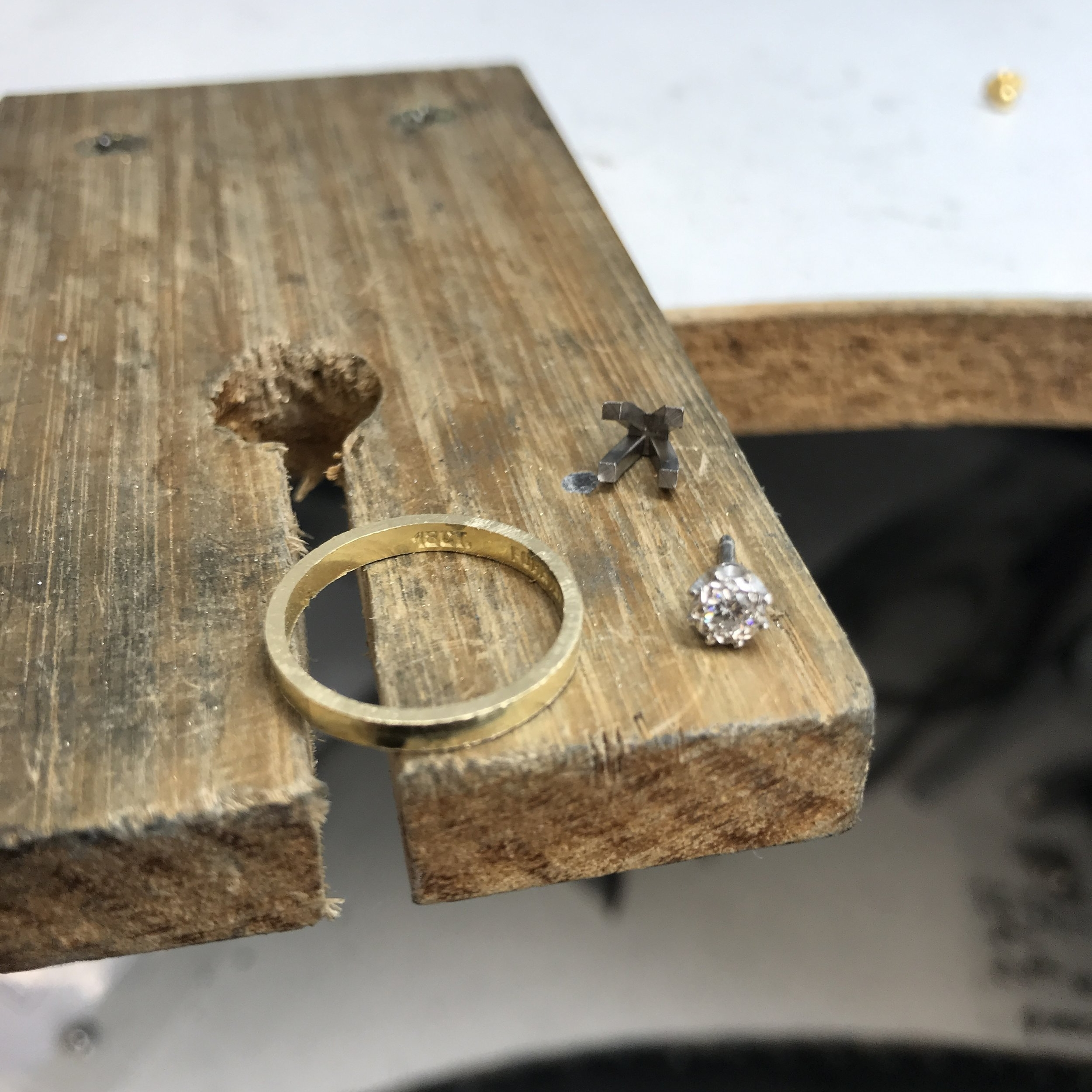 From the workshop, creating a new setting for Rachel's diamond.