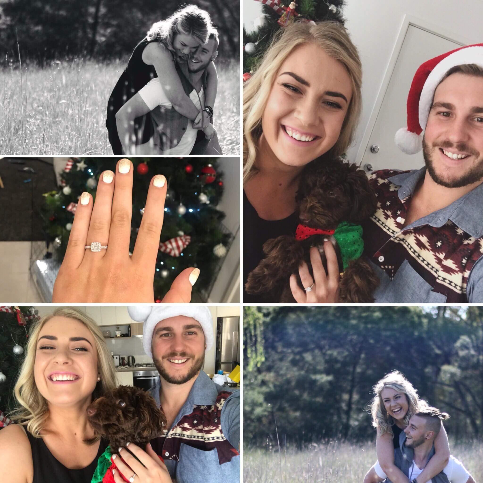 Brayden and Renee's delightfully happy engagement announcement.