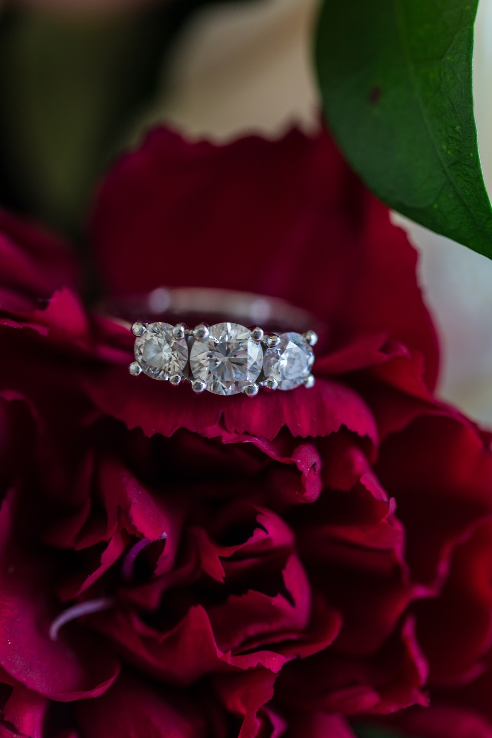 Kate and Zack's three stone engagement ring is stunning against their deep red wedding day flowers. Photo:  Dreamlife Photos Brisbane