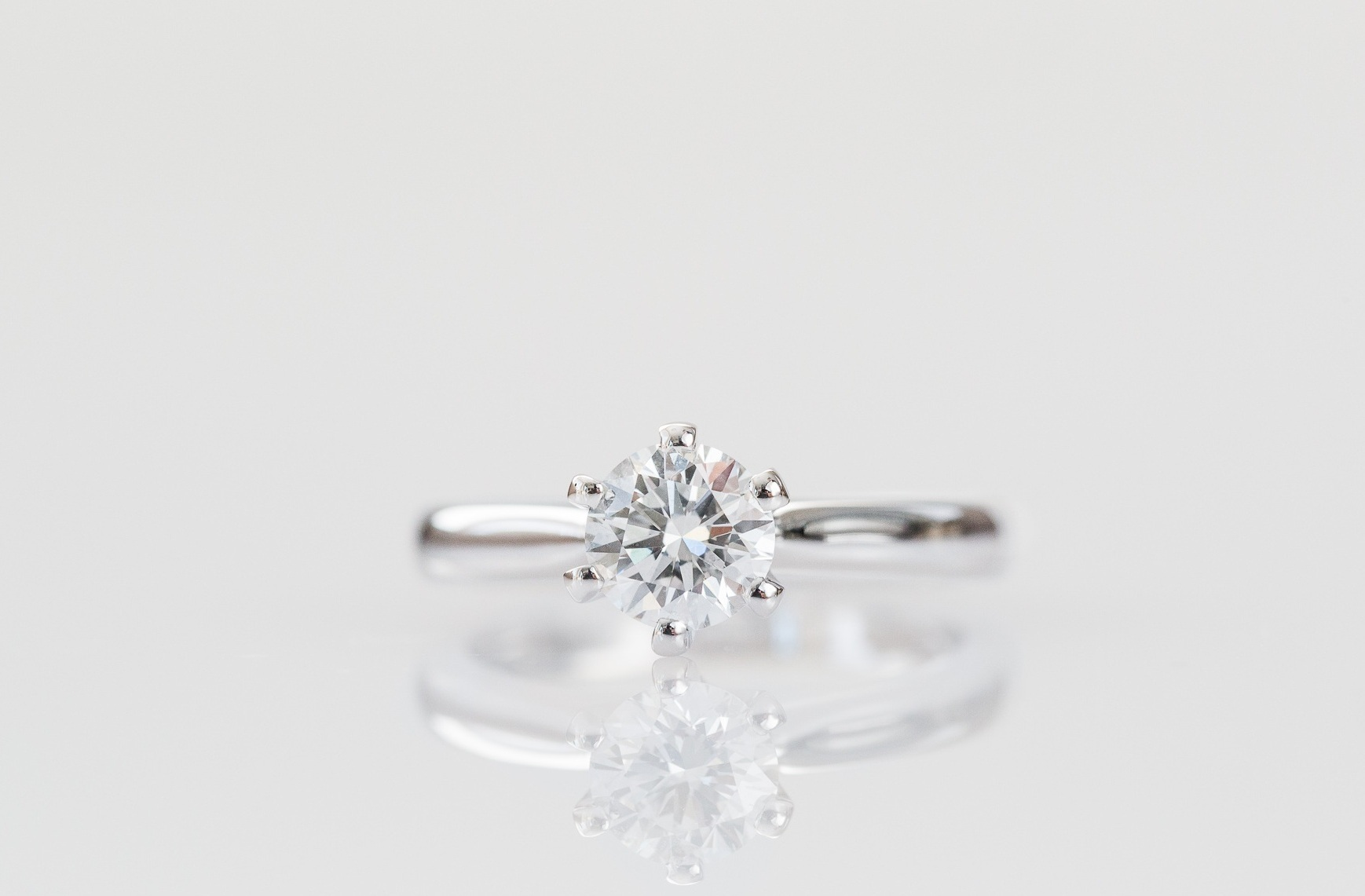 Six claw round diamond engagement ring.