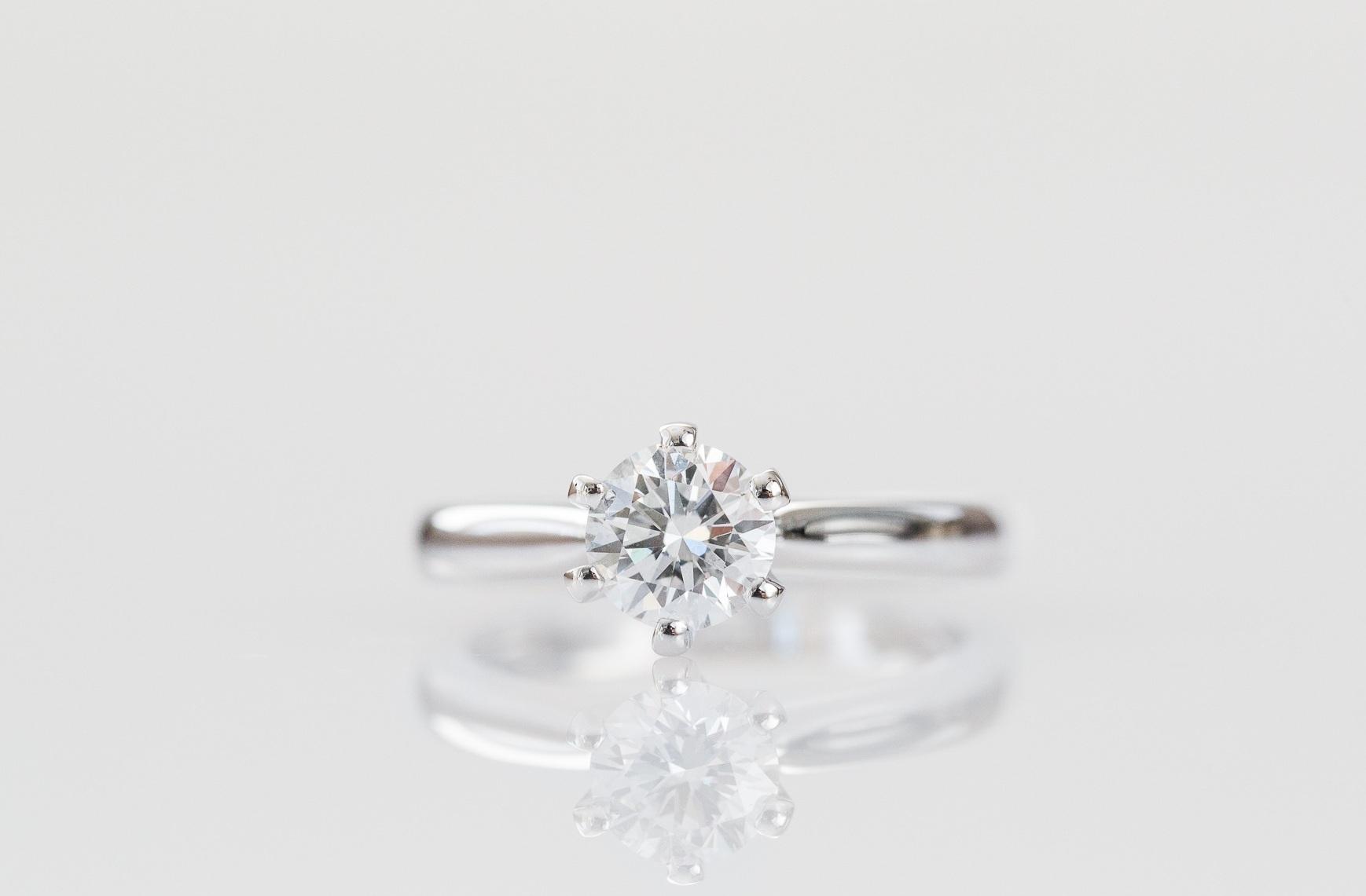 Six claw round diamond engagement ring.