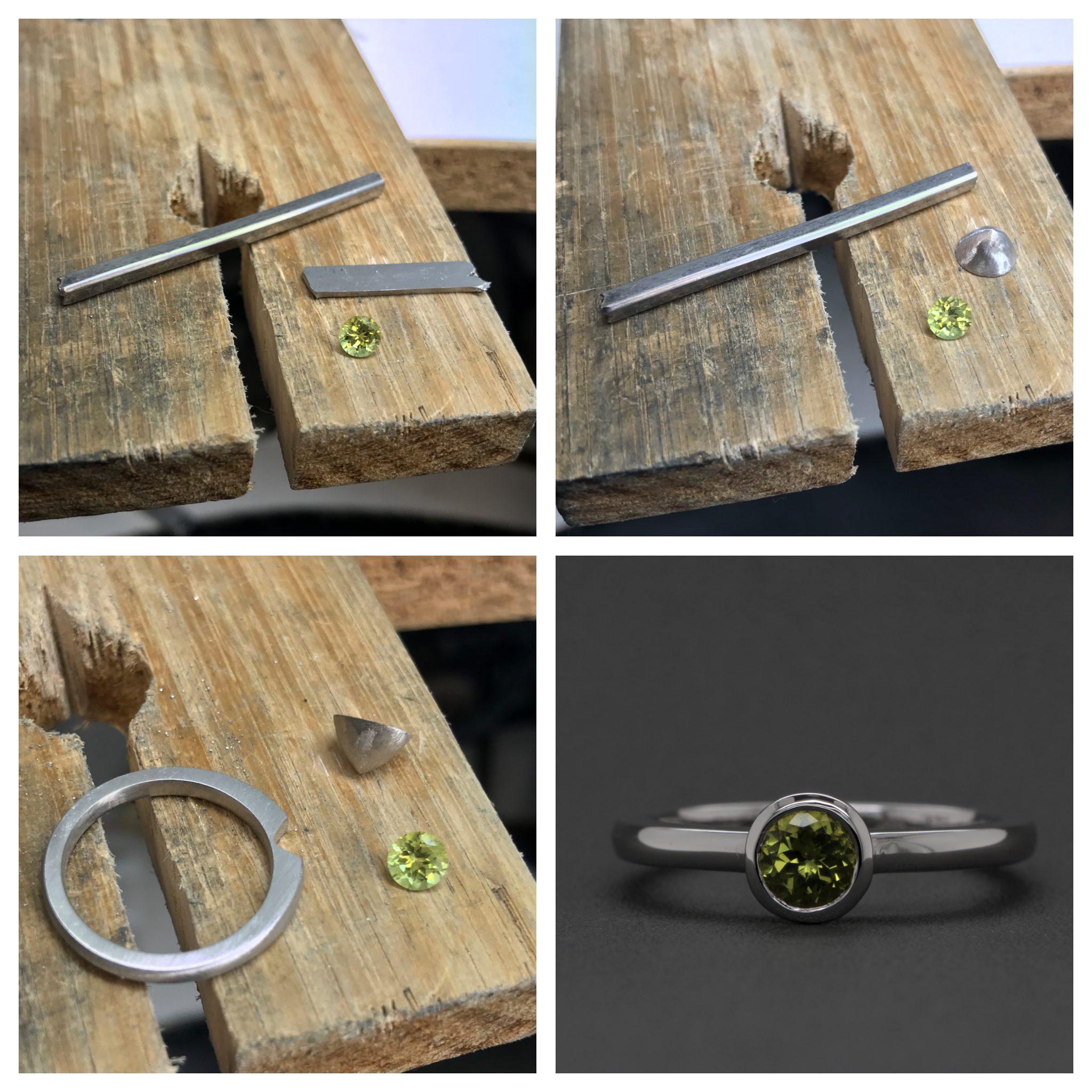 From the workshop, creating Beth and Brendan's meteorite peridot engagement ring.